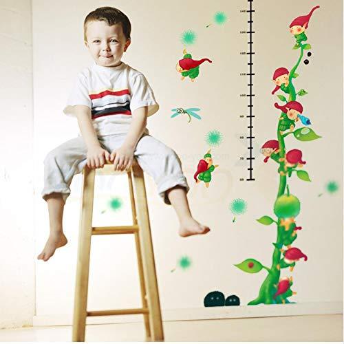 Fqz93in Hauteur Autocollant Petit Monde Croissance Figure Mur Vert 3D Stickers Enfants Chambre DIY Décor À La Maison Murale Dessin Animé Original Tatouage Art
