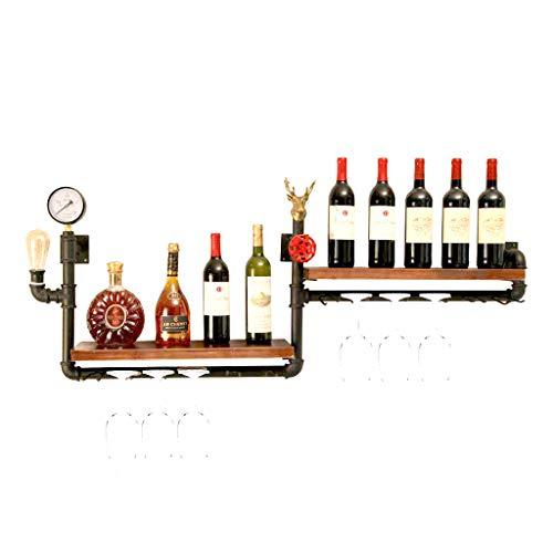 ZHILIAN® Vintage Vino Estante de Hierro Forjado Colgando de la Pared de la Botella de Vino Pantalla Stand Bar salón decoración decoración