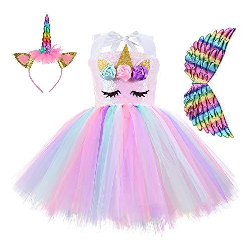 Unicorn Costume for Girls Rainbow Tutu Dress Up with Headband and Wing Outfit for Little Girls Brithday, 4T 6T 8T