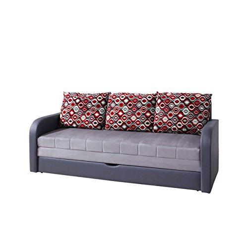 Mirjan24 Elegantes Sofa Lido, Design Couch mit Bettfunktion, Polstersofa mit Bettkasten und Schlaffunktion, Bettsofa, (Alcala 22 + Soft 020 + Amber 70)