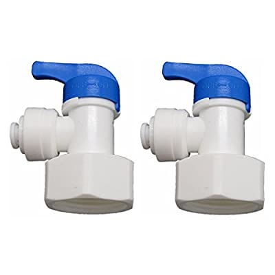 """Elbow 3/4 """"± Female X 1/4"""" Tank Ball Valve Quick Connect Aquarium Ro Water Pack of 2 by JiuWu"""