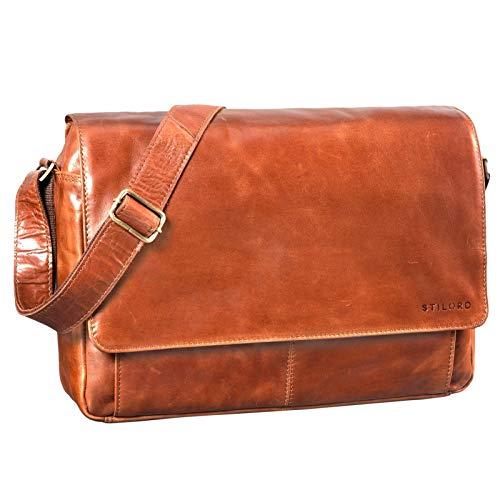STILORD 'Lonzo' Vintage Umhängetasche echtes Büffel-Leder Messenger Bag für Herren und Damen Unitasche Büro Business Studium Leder, Farbe:Cognac - glänzend