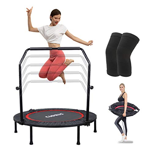 "CLORIS Foldable Fitness Trampoline,Portable 40"" Max Load 400 lbs Trampoline with Handle Mat Exercise Rebounder for Indoor/Garden/Workout with Knee Pad"