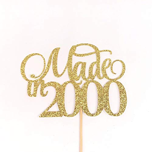Made In 2000 Cake Topper, Birthday Cake Topper, Birth Year Cake Topper, 20th Birthday Cake Topper, Twenty Cake Topper, 20 Cake Topper