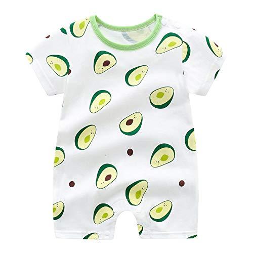 Treer Strampler Baby Mädchen und Jungs, Spielanzug 100% Baumwolle Sommer Babybody Baby Kurzarm-Body für Neugeborene Weich Short-Sleeve Bodysuits (66cm,Grüne Avocado)