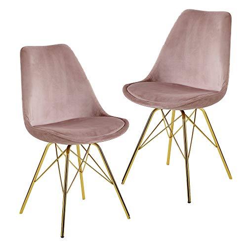 FineBuy Esszimmerstuhl 2er Set Samt Rosa Küchenstuhl mit goldenen Beinen | Schalenstuhl Skandinavisches Design | Polsterstuhl mit Stoffbezug | Stuhl Gepolstert