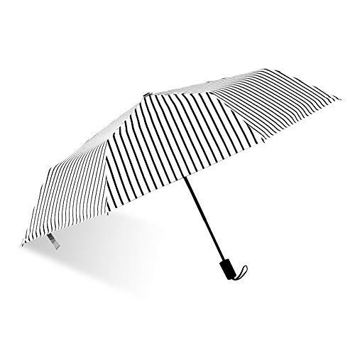 MLDYUS Paraguas Plegable de Tres Rayas Recubrimiento Negro Sombrilla con Filtro Solar Anti-UV Impermeable Mini Viaje Sombrillas portátiles de Doble UsoNegro
