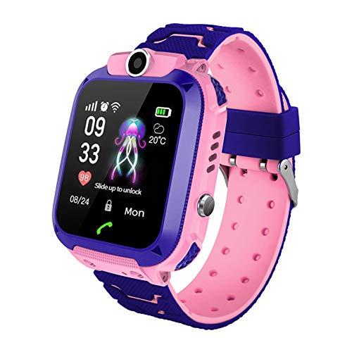 YDL Niños Smart Watch 2021 Reloj Telefónico con SIM Voice Chat SOS Impermeable IP67 LBS Función De Posicionamiento Boys Girls Regalos (Color : Pink, Size : Spanish Language)
