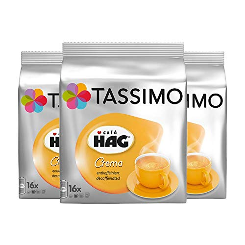 Tassimo Caf? HAG Crema Decaffeinated, Pack of 3, 3 x 16 T-Discs