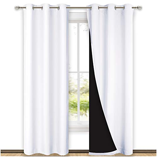 NICETOWN White Blackout Curtains 84 inches Long, Full Light Blocking Drapes with Black Liner for Nursery, Thermal Insulated Draperies for Hall, Villa (2 Pieces, 42 inches Wide Each Panel, Pure White)