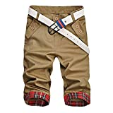 Minesam ショートパンツ メンズ ハーフパンツ カジュアル チェック柄 短パン メンズ 夏 ファッション カーキ XXL