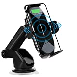 HonShoop Wireless Car Charger Mount, 10W/7.5W Qi Fast Charging Auto-Clamping Car Mount Air