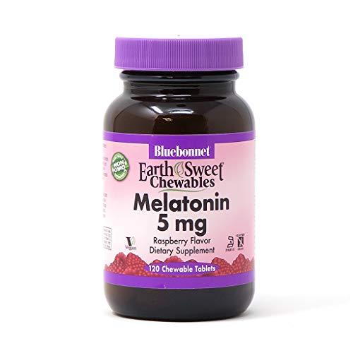 Bluebonnet Nutrition EarthSweet Melatonin 5 mg Fast-Acting Quick Dissolve Nighttime Relaxation & Restful Sleep Support - Sleep Aid - Gluten-Free, Vegan - Raspberry Flavor - 120 Chewable Tablets