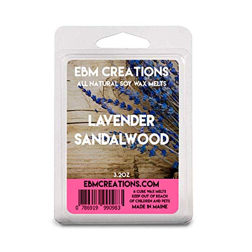 Lavender Sandalwood - Scented All Natural Soy Wax Melts - 6 Cube Clamshell 3.2oz Highly Scented!