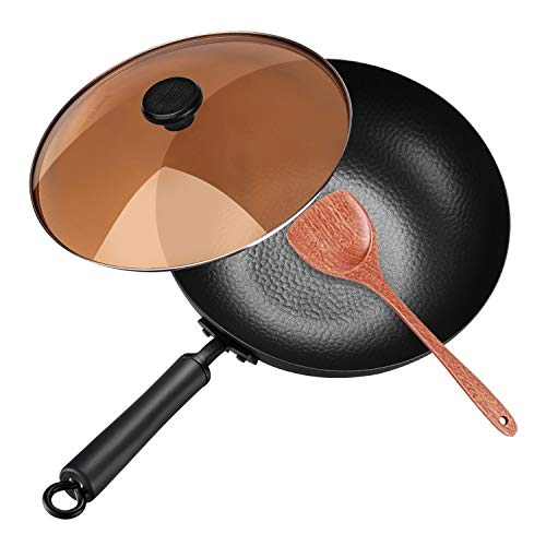 Carbon Steel Wok, 12.5' Nonstick Fry Wok Cooking Wok Pan Chinese Iron Pot for Electric, Induction and Gas Stoves Cooking