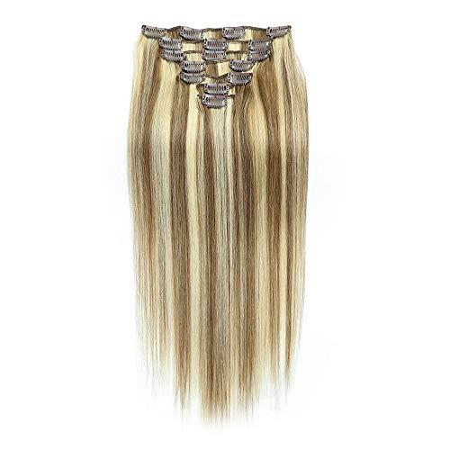 Souple # 8/613 Blond Clair Mix Couleur Marron 24 Pouces 100g Tête Complète - 7 Pièces Extensions De Cheveux Humains Clip In fashion (Color : #8/613)