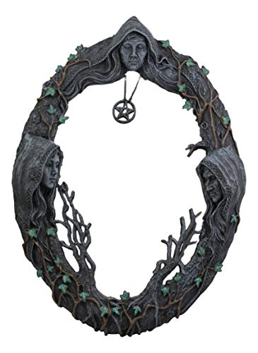 Ebros Celtic Sacred Moon Triple Goddess Mother Maiden Crone Wall Hanging Mirror With Pentagram Amulet Pendant Plaque Decor 17' Tall Hecate Brigid Wicca Wiccan Holy Trinity Decor Sculpture Decorative