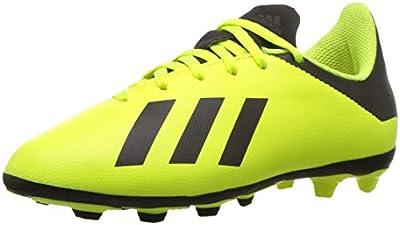 adidas Unisex-Kid's X 18.4 FxG Soccer Shoe, Solar Yellow/Black/Solar Yellow, 5.5 M US Big Kid