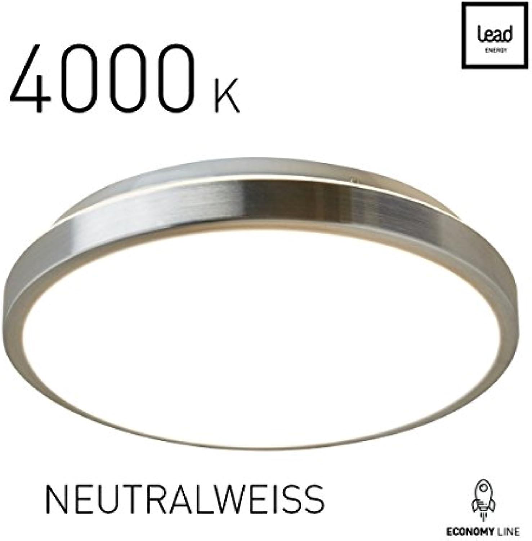 LED Deckenleuchte rund Wohnzimmer Neutralwei 4000 K  LED-Deckenlampe  35cm  25W  Alu-matt