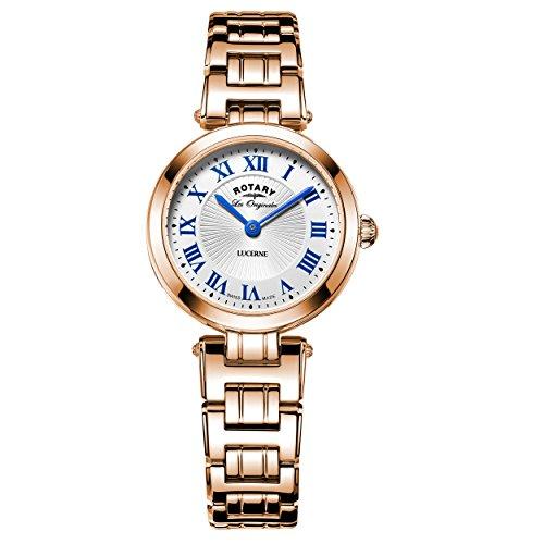 Rotary Lucerne orologio al quarzo con display analogico in madreperla e oro rosa in acciaio INOX LB90189/41