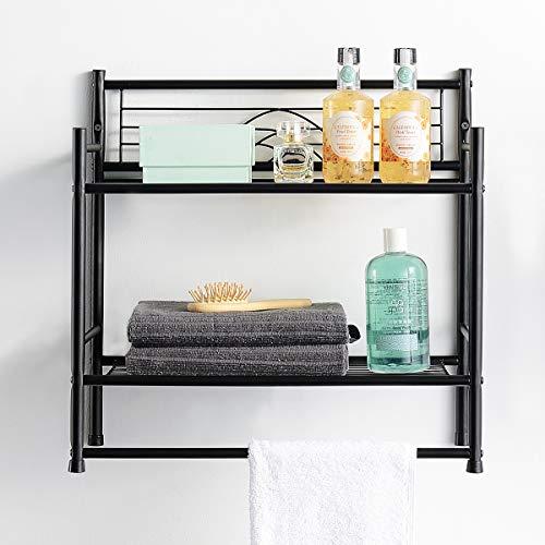 LEEDA 2-Tier Multipurpose Plant Books Bath Essentials Freestanding Shelf or Wall Mounting Utility Metal Storage Rack with Towel Bar, Black