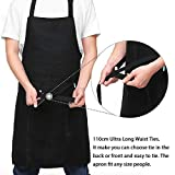 esonmus Küchenschürze Frauen Schürze Kochschürze Grillschürze Für Männer Verstellbarem Halsgurt Ultra Lange Taille Krawatten Zwei Fronttaschen Schwarz - 2