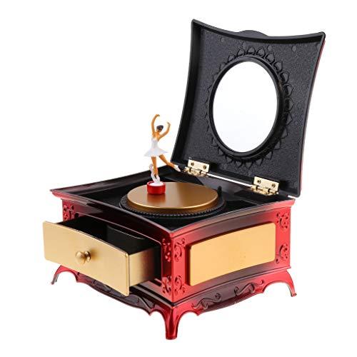 Sharplace Joyero Musical con Cajón Caja de Almacenamiento de Joyas con Bailarina - Rojo