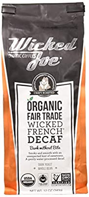 Wicked Joe Organic Coffee French Decaf, Whole Bean, 12 Ounce