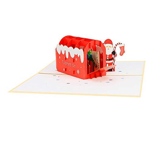 Vrolijk Kerstmis Santas Rode Huis Vakantie Santa Chimney Verrassing Pop Up Wenskaart voor broers en zussen, Familie Vrienden Navidad
