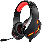 2021 Stereo Gaming Headset with Microphone for Xbox one, Series X, PC, PS4, PS5, Playstation 4, Gamer Headset with Mic and LED Light, Over-Ear Noise Canceling Gaming Headphones for Computer, Nintendo
