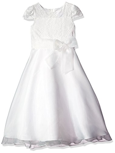 Lavender Girls' Big Cap Sleeve S Lace Bodice-a Line Dress W/Bow in Front, Ivory/Ivory, 7