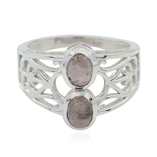RGPL-Real Gemstones Oval cabochon Smokey Quartz Ring - Solid Silver Brown Smokey Quartz Real Gemstones Ring - Jewelry Greatest Selling Shops Gift for Anniversary Day Promise Ring