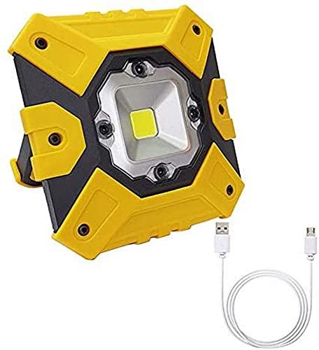UWY Proyector LED Recargable de 15W 800LM, Luces de Trabajo portátiles al Aire Libre IP65 a Prueba de Agua, 3 Modos de luz, batería de 4400mAh, para Obra, Garaje, Taller, Camping, Blanco frío, y