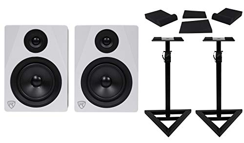 "Pair Rockville APM5W 5.25"" 2-Way 250W Powered USB Studio Monitors+Stands+Pads"