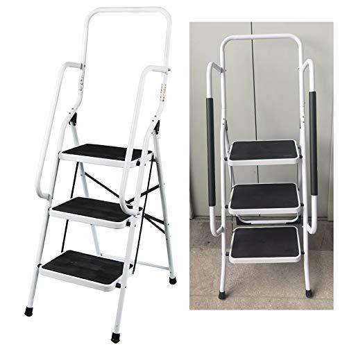 Feidak 3 Stufen Stahlleiter mit Handlauf 3 Stufen Leiter mit rutschfesten Füßen, leicht zu verstauen, faltbares Design, ideal für Zuhause, Küche, Garage, leicht, belastbar 150 kg maximale Tragkraft