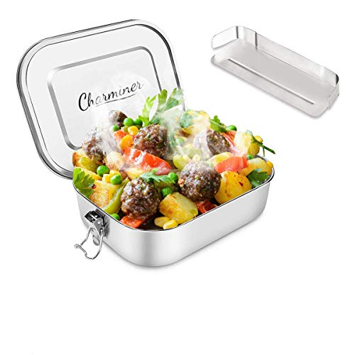 Charminer Brotdose aus Edelstahl,Bento Box Metall Dichte Brotdose Lunchbox für auslaufsicher 1200ML ml Fassungsvermögen mit Fächern Die große Brotbox zum Wandern/Reisen/Schule Kinder und Erwachsen