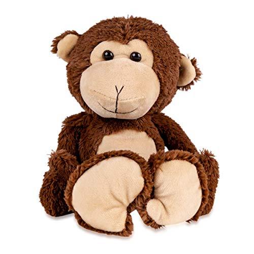 Stofftier Affe mit langen Armen | Monkey Plüschtier Braun 20 cm | Kuscheltier weich flauschig süß | Plüschaffe waschbar beweglich | Schmusetier Geschenke-Ideen für Kinder | Happy Brownie