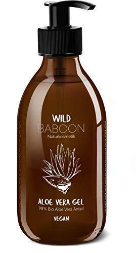 Bio Aloe Vera Gel von Wild Baboon   98% Aloe Anteil   250ml   Braunglas   Vegan   Naturkosmetik für Gesicht, Körper und Haare