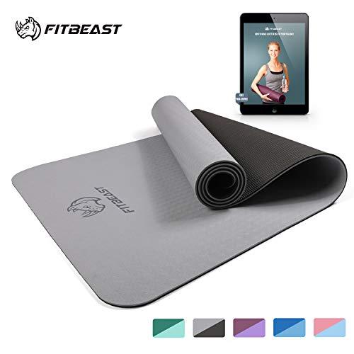 FitBeast Yogamatte, 6 mm Dicke Rutschfeste Übungs-Yogamatte, TPE Umweltfreundliche Fitnessmatte mit Tragegurt - Trainingsmatte für Yoga, Pilates und Gymnastik 183 x 61 x 0,6CM, Kompaktes Leichtgewicht