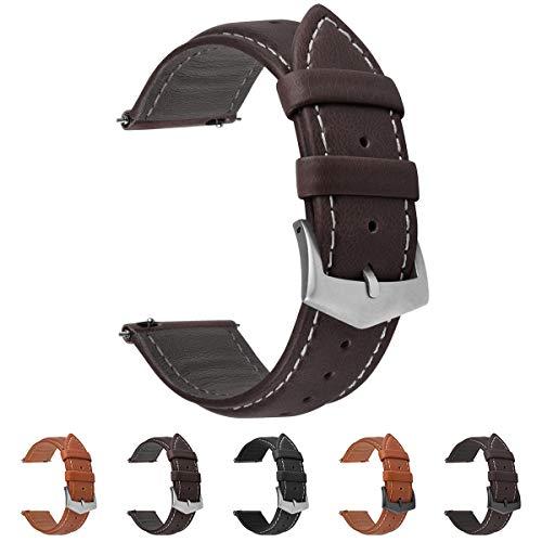 Fullmosa 3 Farben Uhrenarmband, Labu Semi Padded Greased Lederarmband, Ersatzarmband für Damen Herren, Kaffee+ Silber Schnalle 22mm