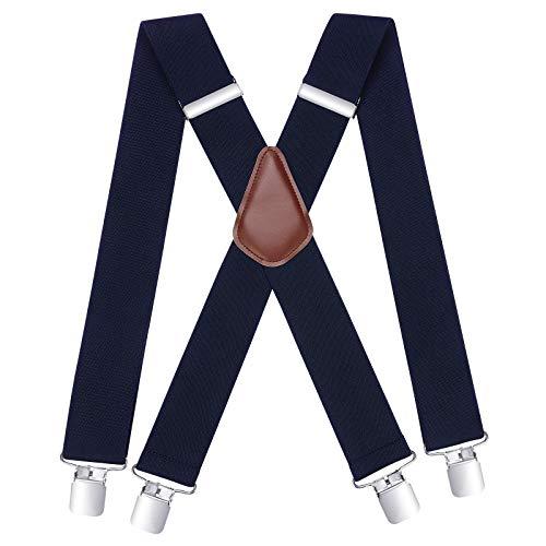 HISDERN Tirantes Hombre Azul marino Ancho 5 cm con 4 Clips Extra Fuerte Metalicos Talla Unica Para Hombre y Mujer Tirantes Ajustables y Elasticos Estilo X