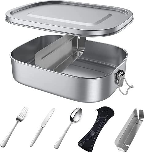 Brotdose Edelstahl 800 ML, Metall Brotdose mit entfernbaren Trennwänden, Auslaufsicher Brotbox für Erwachsene und Kinder, Suitable for Dishwasher, BPA-frei