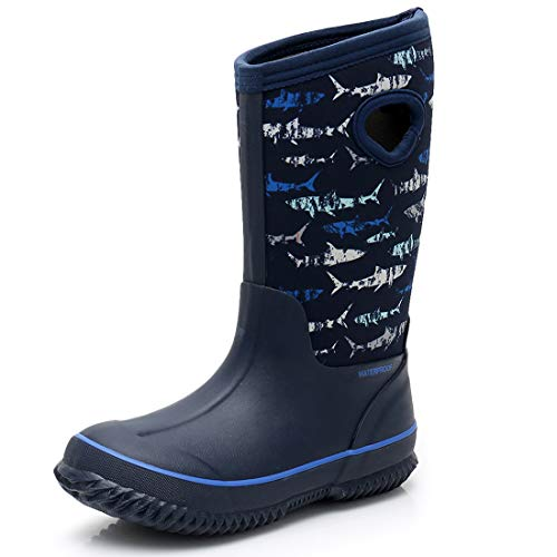 SOLARRAIN Kids Waterproof Rain Boots All-Weather Neoprene Rubber Lightweight Mud Boots Winter Warm Insulated Snow Boots for Boys (Sharks, Numeric_11)