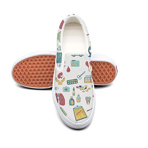 Colored medicine nurse pattern white Ladies Sneakers for Women spring Wear-Resistant Best Running Shoes