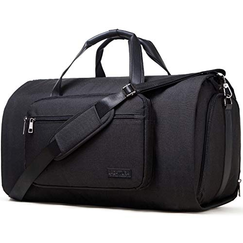 Carry on Garment Bags - Convertible | 2 in 1 | Suit Travel Bag with Shoes Compartment | Shoulder Strap | Waterproof Large Duffel Bags | Weekender Bag for Men & Women | Fathers Day Gifts (Black)