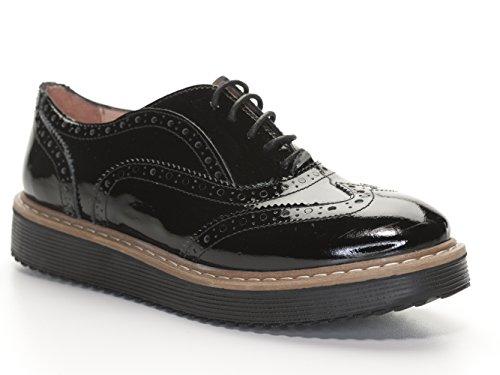 Lazamani 64-004 Damen Schnürr Schuhe Lack Sneaker Budapster schwarz (36)
