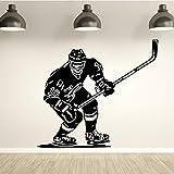 yaonuli Jugador de Hockey Etiqueta de la Pared Deportes Hielo Piso Pared calcomanía Dormitorio Sala de Estar habitación para niños Autoadhesivo Vinilo decoración 42x44cm