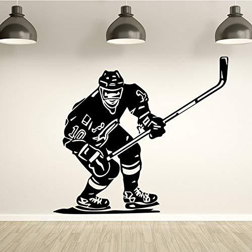 Jugador de hockey pegatinas de pared deportes hielo floorball pegatinas de pared sofá dormitorio sala de estar habitación de los niños pegatinas de pared A1 58x64cm