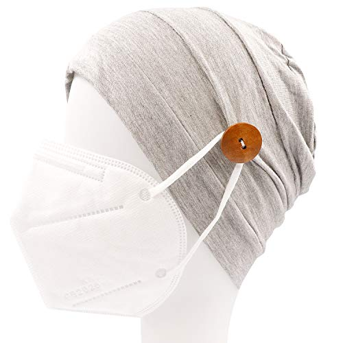 Button Headbands for Women Sleep Beanie Cap Yoga Sports Workout at Home Turban Headwrap for Everyone Protect Your Ears-Ear Saver (03-Gray)