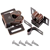 CCUCKY 8 Pcs Door Catches, Double Roller Cabinet Catch Strong Hold Cupboard Latches with Screws for Home,Cabinet,Furniture (Brass)